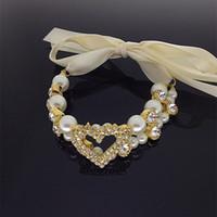 wholesale!luxury shiny heart rhinestone imitate pearl neckla...
