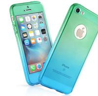 Pour iPhone 5 5s 6 6s cas et plus de téléphone gradient de couleur hybride protecteur d'écran de couverture à 360 degrés à 360 ° dur Ultra mince en verre trempé