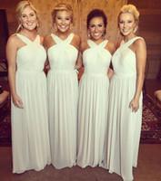 2017 Новый Halter шифон Bridesmaid платья линии Pleats длинные летние пляжные свадебные вечеринки гость вечерние платья официальные платье невесты платья