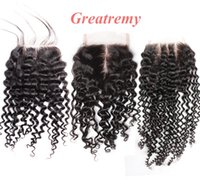 100% Indian Hair Top Lace Closure Curly Free Way Middle Way ...