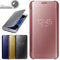 Pour Galaxy S8 S8 S7 Edge S6 Edge et S6 Edge Plus Case, J7 prime, miroir Voir Clear Flip Case Cover miroir hyperbolique