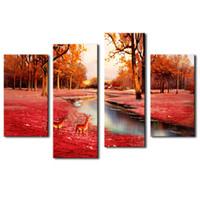 4 Панели Браун стены искусства Живопись Олень в Осенний лес Картинки печать на холсте Животное изображение для домашнего декора с деревянными подставил