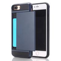 Los casos más nuevos del teléfono móvil de la diapositiva de la caja del estilo del negocio de la llegada con el sostenedor de la tarjeta de crédito para el iphone 7