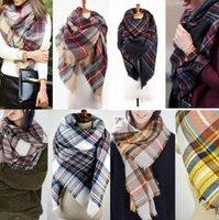 Женщины Plaid шарф Одеяло Крупногабаритные Шотландка шали обруча Cozy Проверено пашмины с кисточкой платка 20 конструкций 100шт OOA609