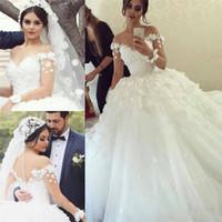 Великолепные свадебные платья 2016 года Scoop Sheer шеи длинным рукавом свадебное платье Кружева Аппликация цветы ручной работы Sheer Крытые кнопки Свадебные платья