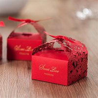 Red favor box with ribbon party decorations wedding laser cu...