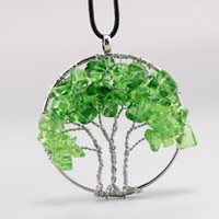 Green crystal Tree Of Life Quartz Chips Pendant Necklace Mul...