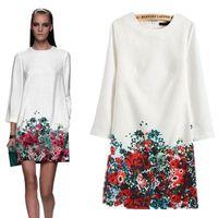 Free shipping 2016 Women Autumn Winter Dress Handmade Printi...
