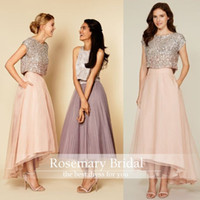 New Arrival Gold Sequins Sleeveless Jewel Ankle Length Bride...