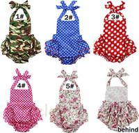 Infantil do bebê Retail azul Red Star Dot camuflagem Romper Halter Back and Ruffle inferior meninas florais Jumpsuit romper floral para 0-24M