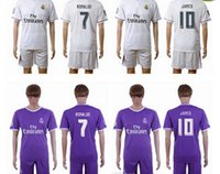 2016- 2017 Real Madrid Home White Soccer Sets Away Purple Jer...