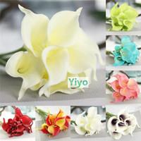 10Pcs Multicolor Artificial Real Touch PU Calla Lily Fake Fl...