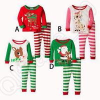 4 модели пижамы Рождество пижамы с длинным рукавом пижамы Дети полосатые пижамы Дети ночной набор Рождество пижамы Baby Sleepwear CCA4831 100шт