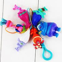 5- 6cm 6pcs set Trolls Poppy Branch keychain PVC Action Figur...