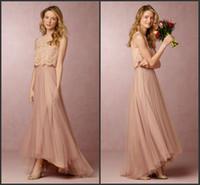 2016 Пользовательские Дешевые платья невесты линия High Low Lace Top Tiers Тюль Blush горничной честь платья богемское Свадебные платья партии