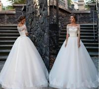 2017 Vintage Кружева Свадебное платье Половина рукава Sheer Backless Свадебные платья Длина пола Бисер Дешевые принцесса свадебные платья