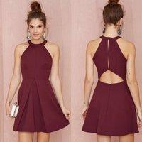 Burgundy Party Dresses Mini Cocktail Dresses 2016 Summer Sex...