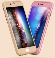 Pour iPhone 5 6 Case 6Plus Utra Thin 360 degrés de luxe dur PC Couverture de protection avec écran en verre trempé de protection avec le paquet de détail