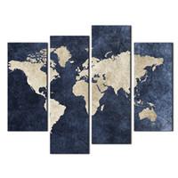 4 Pieces Blue Map Картина мира Карта с Мазарином Справочная фотография Печать на холсте Настенная живопись для дома Современный декор Деревянный рамный