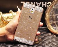 Luxe Bling Glitter Diamant strass en plastique dur PC de couverture de téléphone pour Samsung Galaxy S5 S6 bord A3 A5 A7 Note 3 4 5 Grand Premier G530