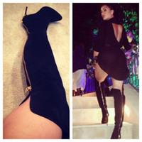Wholesale Black Thigh High Boots Plus Size - Buy Cheap Black Thigh