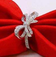 925 en argent sterling plaqué anneau de charme cristal anneaux taille ajustable arc CZ cubique anneau de zircon pour les femmes de mariage