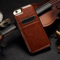 Pour iphone 7 6 Plus antichoc Retro en cuir TPU Hard Cover affaire avec des fentes de carte de crédit Support pour iphone7