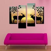 4 фото Сочетание Deer Winter Deer Изображение Обернуто Печать холст Показывает 2 оленя с Antler Стойки дикой природы Декор стены