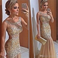 Sparkly Formal Mermaid Evening Dresses Backless Beadings She...
