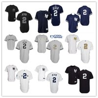 Wholesale New York NY Yankees #2 Derek Jeter White Flag Stit...