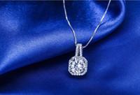 925 Argent Plaqué Collier Blanc Big Charm Cristal Cubic Zirconia Colliers pendentif avec Chian Bijoux pour Amoureux Valentine's Day Gift