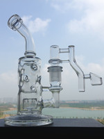 Plates-formes pétrolières 8 pouces d'épaisseur recycleur de verre Bong conduites d'eau de fumer Quartz Banger Bongs Bubbler avec bol en verre joint de 14.4mm