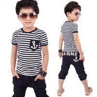 New 2016 Spring Kids Clothes Navy Short sleeve Pullover Stri...