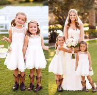 Новый прекрасный короткий шнурка малышей девушок цветка платья 2016 году экипаж образным вырезом без рукавов Страна Свадебный стиль Pageant партии платья для девочек