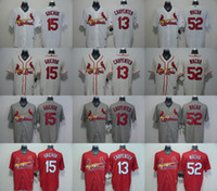 Mens St. Louis Cardinals #13 Matt Carpenter #52 Michael Wach...