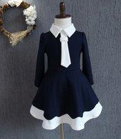 2016 Autumn Children Girls Navy Style Long Sleeve Dresses Pr...