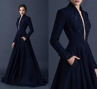 Темно-синий атласные вечерние платья вышивки Paolo Себастиан платья сшитое бисера Формальные партии Wear бальное платье Погружаясь V шеи мантии шарика