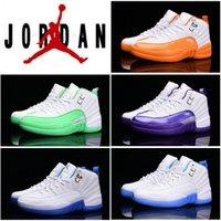 2016 Womens dan 12 Retro Basketball Shoes White Orange Green...