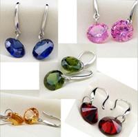 Nouvelle plaqué argent 925 Dangle Boucles d'oreilles AAA Cubic Zirconia Crystal 8MM CZ Diamond Wedding Stud Earrings Jewelry for Women Girls Livraison gratuite