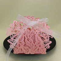 Baby shower decoration gift box pink butterfly hollow laser ...