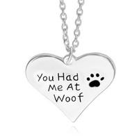 Vous m'avez eu à woof amant de chien dag chien poupée Imprimer Coeur pendentif collier en forme de pendentifs en gros Bijoux nacklaces échantillon pour les femmes