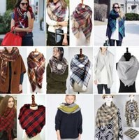 Женщины Длинные зимы кашемира полушерстяные Мягкая теплая шали обруча кисточкой Plaid шарф 93 цветов большой размер HHA1128