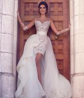 Sheath Two pieces Wedding Dresses Kneel- length Sheer Straps ...
