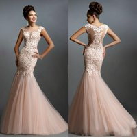 Mermaid Wedding Dress Sheer Neck Tulle floor Length Tiered S...