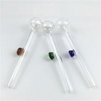 Accessoires bong huile de verre de brûleur main pas cher pipes d'épaisseur mini-tube de brûleur à huile claire 10cm de tube de verre avec poignée colorée