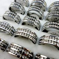 Bague Réglage Mode Classique Femmes Engagement d'anniversaire de mariage Manche en acier inoxydable Zircon Bagues Femme Bijoux L420