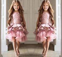 Мини-цветок девочки платья бальные платья без рукавов Jewel Pageant платья многоуровневого рябить с аппликацией Cusrom Made длиной до колен платья Формальные партии