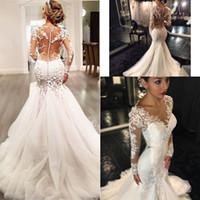 2016 Русалка Свадебные платья дешевые длинные рукава кружева из бисера Sheer Назад платья Sexy Многоуровневое Юбки Люкс