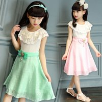 2016 110- 160 Girls Cap Sleeve Dress Lace Neck Bowknot Childr...