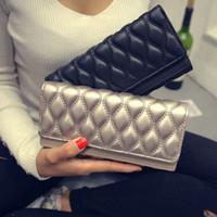 Mode Femmes portefeuilles en cuir Porte-cartes de conception longue Eau Ondulation Porte-monnaie 4 couleurs sacs à main Sacs de téléphone d'embrayage pour les femmes